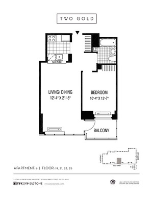 floorplan for 2 Gold Street #1906