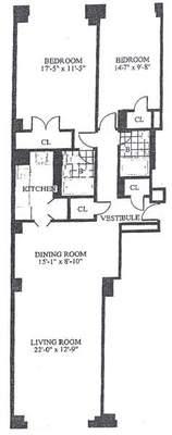 floorplan for 30 Park Avenue #11M