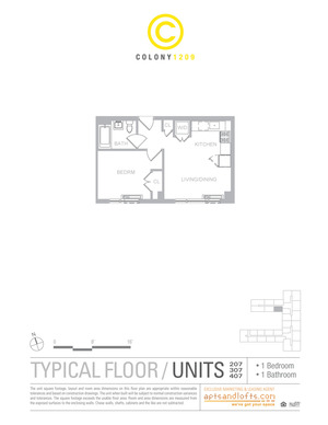floorplan for 1209 Dekalb Avenue #307
