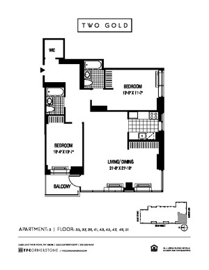 floorplan for 2 Gold Street #3903