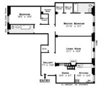 floorplan for 210 West 90th Street #9L
